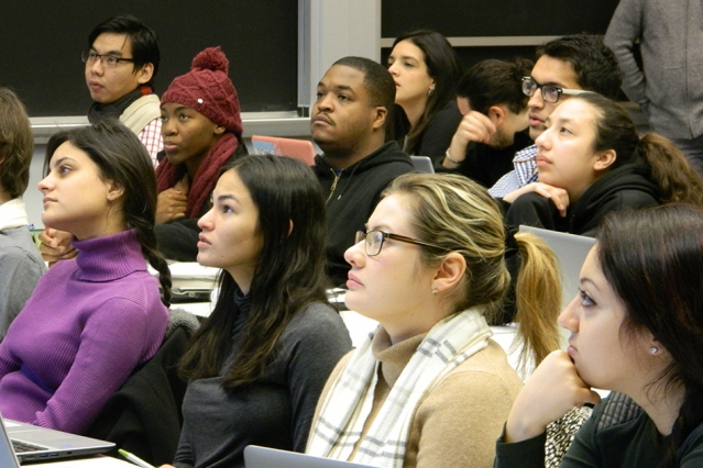 Students from 10 colleges and universities listen to a lecture by Eric Wang at the seven-day Quantitative Methods Workshop, held at MIT from Jan. 2–9.