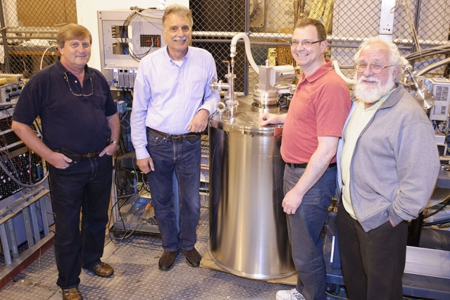 Members of the Plasma Science and Fusion Center team who are developing the compact superconducting cyclotron accelerator for proton beam radiotherapy: (left-right) Alexey Radovinsky, Joe Minervini, Phil Michael, and Leslie Bromberg.