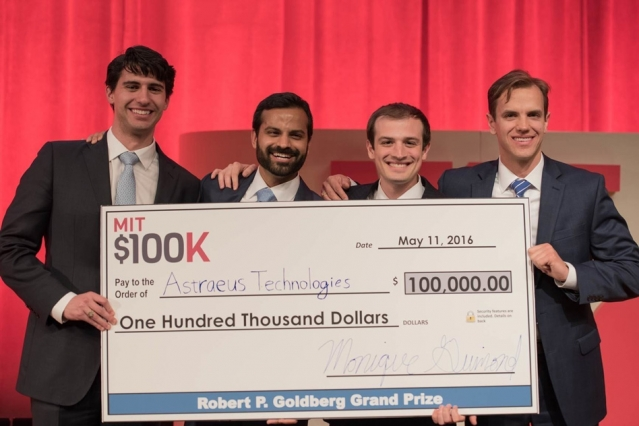 MIT $100K grand-prize-winning team Astraeus Technologies (left to right): Graham Lieberman, Jay Kumar, Alexander Blair, and Joseph Azzarelli.