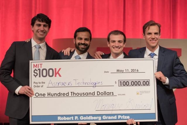 MIT $100K grand-prize-winning team Astraeus Technologies (left to right): Graham Lieberman, Jay Kumar, Alexander Blair, and Joseph Azzarelli.