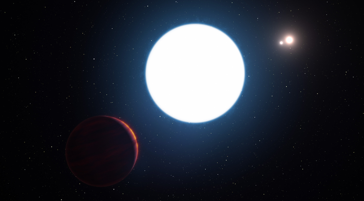 This artist's impression shows a view of the triple star system HD 131399 from close to the giant planet orbiting in the system. The planet is known as HD 131399Ab and appears at the lower-left of the picture. Located about 340 light years from Earth in the constellation of Centaurus (The Centaur), HD 131399Ab is about 16 million years old, making it also one of the youngest exoplanets discovered to date, and one of very few directly imaged planets. With a temperature of around 580 degrees Celsius and having an estimated mass of four Jupiter masses, it is also one of the coldest and least massive directly imaged exoplanets.