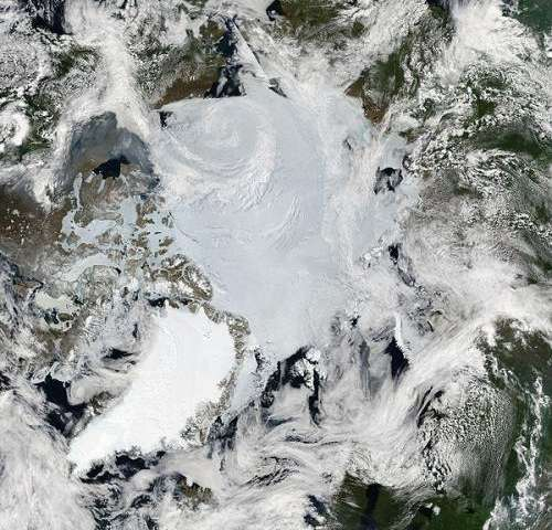 Mosaic of images of the Arctic by MODIS. Credit: NASA