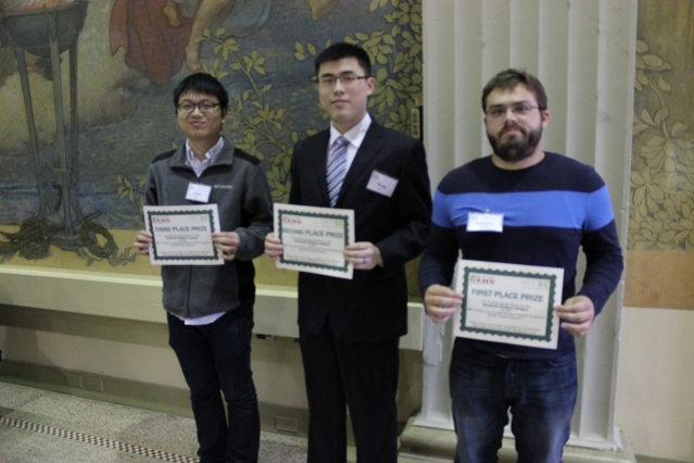 Graduate student poster winners were: (l-r) Chen Gu, Rong Zhu, Anthony Soltis, as well as Joseph Azzarelli (not pictured).