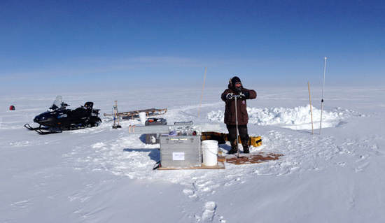 The ice is drilled in Greenland and Antarctica and is transported back home to the laboratory where it is prepared and made ready the measurements. Credit: Paul Vallelonga, NBI