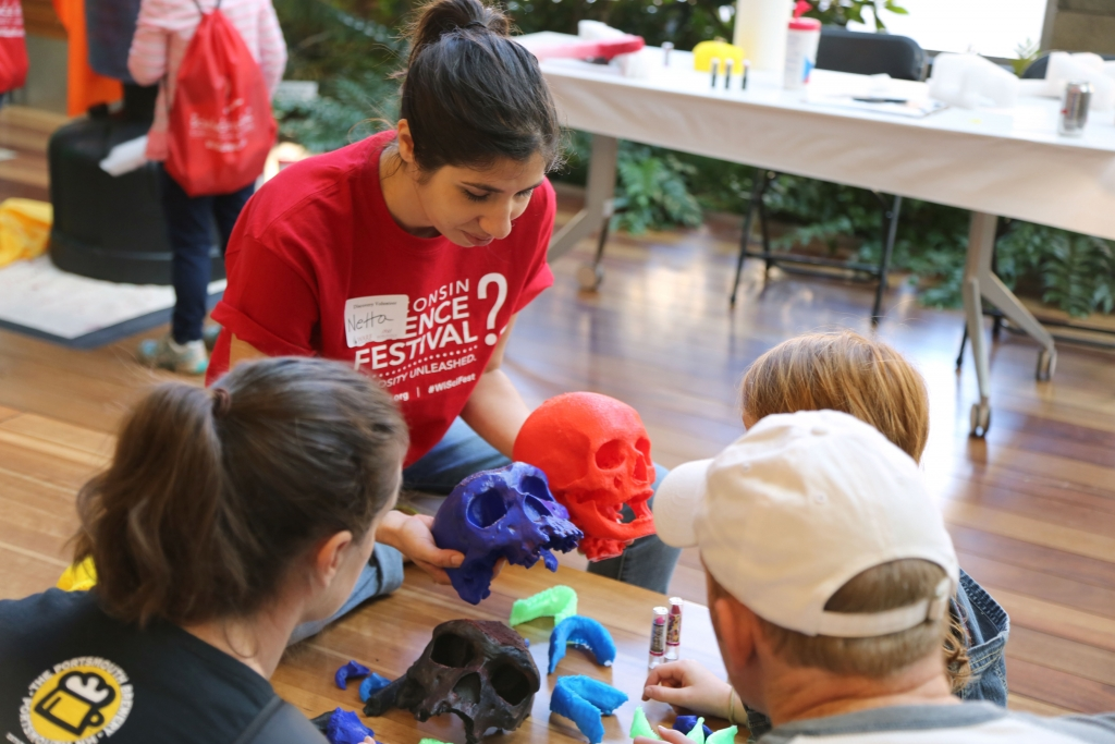 Photo: A volunteer and visitors compare 3-D-printed models of hominin skulls at the 2015 Wisconsin Science Festival's Discovery Expo. The Discovery Expo is a hands-on, family-friendly event that takes place in the Discovery Building over all four days of the festival.