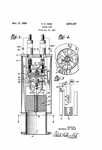 This is the sketch for a 1959 patent for a vacuum pump, from Raymond G. Herb. Ion pumps were invented in the middle of the 20th century. Free of oil or moving parts, the technology would help make new, high precision research tools possible such as the scanning probe microscope. This design worked on a small scale and was capable of producing an impressively high vacuum.
