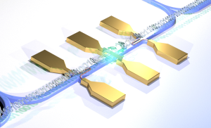 Carbon tube (center) as a photon source and superconducting nanowires as receivers constitute part of the optical chip. Credit: W.Pernice/WWU