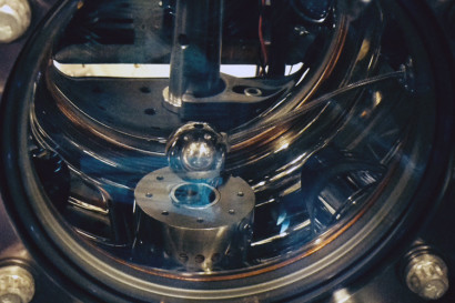 aluminum sphere inside a vacuum chamber used to look for dark energy particles
