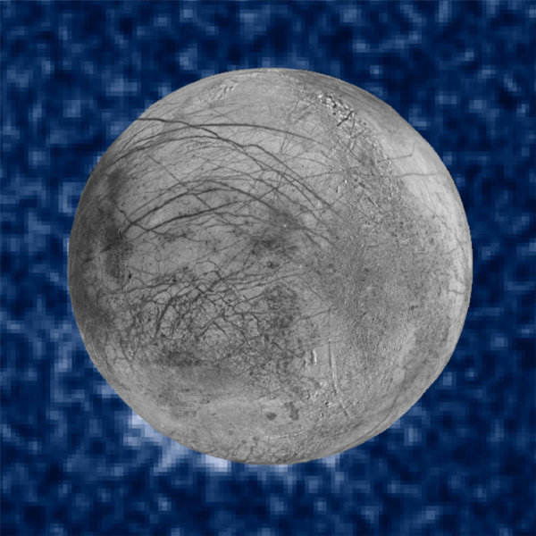 This composite image shows suspected plumes of water vapor erupting at the 7 o'clock position off the limb of Jupiter's moon Europa. The plumes, photographed by NASA's Hubble's Space Telescope Imaging Spectrograph, were seen in silhouette as the moon passed in front of Jupiter. Hubble's ultraviolet sensitivity allowed for the features -- rising over 100 miles (160 kilometers) above Europa's icy surface -- to be discerned. The water is believed to come from a subsurface ocean on Europa. The Hubble data were taken on January 26, 2014. The image of Europa, superimposed on the Hubble data, is assembled from data from the Galileo and Voyager missions. Credit: NASA/ESA/W. Sparks (STScI)/USGS Astrogeology Science Center