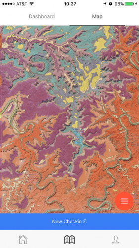 Image: A river-dissected plateau near Moab, Utah, shown in Rockd. Colors show the age of rocks; two winding rivers cut deeply into the strata.