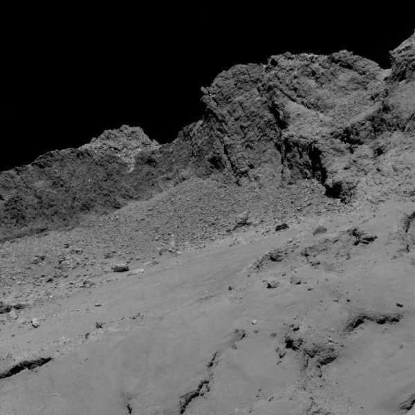The OSIRIS narrow-angle camera aboard the Space Agency's Rosetta spacecraft captured this image of comet 67P/Churyumov-Gerasimenko on September 30, 2016, from an altitude of about 10 miles (16 kilometers) above the surface during the spacecraft's controlled descent. The image scale is about 12 inches (30 centimeters) per pixel and the image itself measures about 2,000 feet (614 meters) across. Credit: ESA/Rosetta/MPS for OSIRIS Team MPS/UPD/LAM/IAA/SSO/INTA/UPM/DASP/IDA