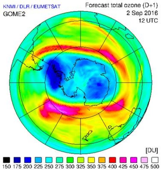 Measurements from GOME-2, together with information from model runs, provide a forecast for 2 September of the total column amount of ozone over the South Pole. Compared to other regions on Earth, meteorological conditions there favour faster ozone depletion at this time of year and this is clear from the blue and dark blue coloured areas, which are considered low levels of ozone. Credit: Image courtesy of European Organisation for the Exploitation of Meteorological Satellites (EUMETSAT)
