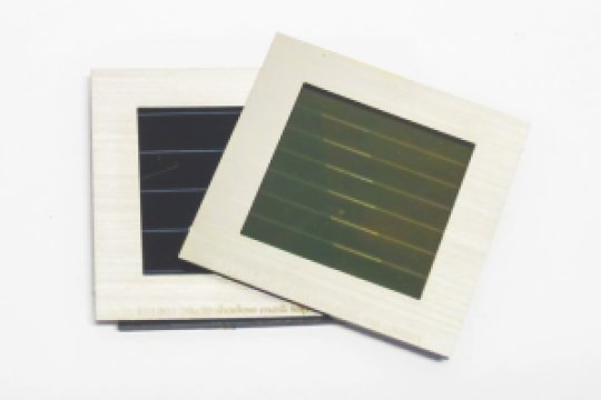 Prototype tandem solar module made up of a semitransparent perovskite solar module (on top) and a CIGS solar module (below). Credit: imec/ZSW/KIT