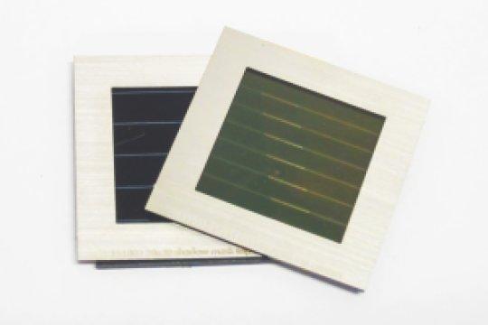 Prototype tandem solar module made up of a semitransparent perovskite solar module (on top) and a CIGS solar module (below). Credit: imec/ZSW/KIT